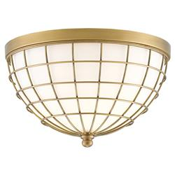 Galilea Modern Brass Cage Glass Dome Ceiling Mount | Kathy Kuo Home