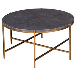 Galileo Hollywood Regency Grey Leather Top Antique Brass Legs Coffee Table | Kathy Kuo Home