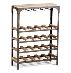 Gallatin Industrial Metal Rustic Wood Narrow Console Wine Rack | Kathy Kuo Home