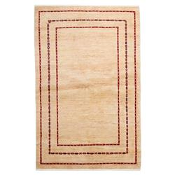 Galway Bazaar Red Border Gabbeh Wool Rug - 4'1 x 6'4 | Kathy Kuo Home