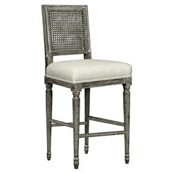Gamay French Country Grey Oak Caned Linen Counter Stool | Kathy Kuo Home