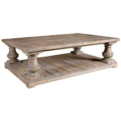 Gamble Rustic Lodge Salvaged Fir Stone Wash Coffee Table | Kathy Kuo Home