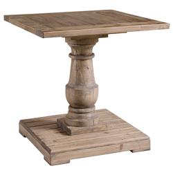 Gamble Rustic Lodge Salvaged Fir Stone Wash Pedestal End Table | Kathy Kuo Home