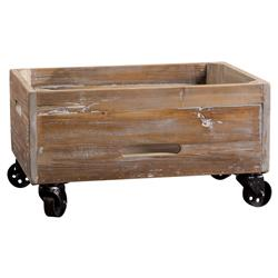 Gamble Rustic Lodge Salvaged Fir Stone Wash Rolling Box | Kathy Kuo Home