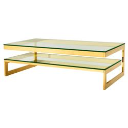 Gamma Modern Classic Rectangular 2 Tier Glass Gold Coffee Table | Kathy Kuo Home