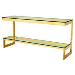 Gamma Modern Classic Rectangular 2 Tier Glass Gold Console Table | Kathy Kuo Home