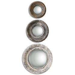 Gannon French Country Round Antique Rustic  Mirror - Set of 3 | Kathy Kuo Home