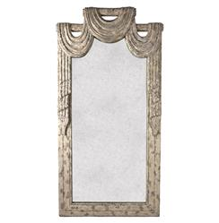 Garnier French Country Draped Curtain Theatrical Antique Mirror | Kathy Kuo Home