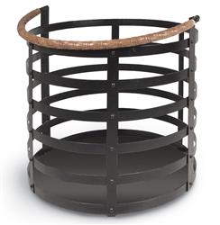Garvey Rustic Lodge Wrought Iron Log Floor Basket | Kathy Kuo Home