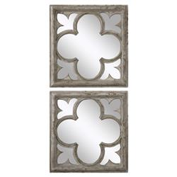 Gaston French  Antique White Wood Quatrefoil Mirror - Pair | Kathy Kuo Home