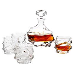Gatsby Classic Crystal Glass Decanter - Set of 5 | Kathy Kuo Home
