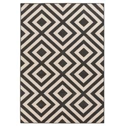 "Gennifer Modern Graphic Black Ivory Outdoor Rug - 8'9""x12'9"" 