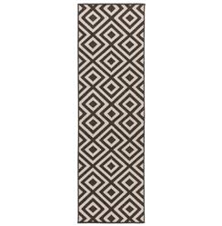 "Gennifer Modern Graphic Black Ivory Outdoor Rug - 2'3""x7'9"" 