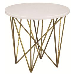 George Oly White Shell Gold Hairpin End Table | Kathy Kuo Home