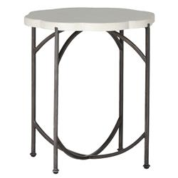 Gillian Floral Ivory Iron Outdoor End Table | Kathy Kuo Home
