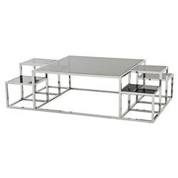 Ginger Modern Classic Smoked Glass Top Multi-Square Coffee Table | Kathy Kuo Home