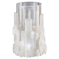 Ginny Coastal Modern White Selenite Crystal Glass Candleholder | Kathy Kuo Home