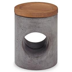 Gio Industrial Loft Grey Stone Oak Round Outdoor Stool | Kathy Kuo Home