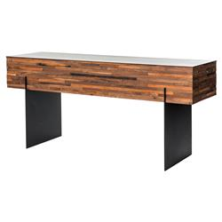 Givens Industrial Lodge Walnut Black Steel Console Table | Kathy Kuo Home
