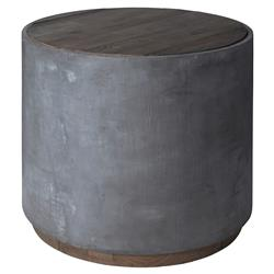 Gloria Rustic Lodge Grey Concrete Round Reclaimed Elm Side End Table | Kathy Kuo Home