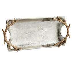 Gold Antler Rectangular Pewter Silver Tray - Small | Kathy Kuo Home