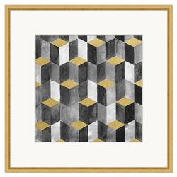 Gold Leaf Block Geometry Matte Charcoal Painting | Kathy Kuo Home