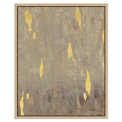 Gold Leaf Fragment Matte Taupe Painting - II | Kathy Kuo Home