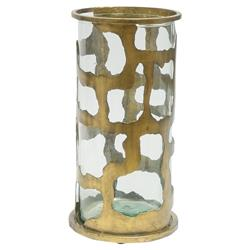 Gold Wrought Iron Glass Hurricane - Small | Kathy Kuo Home