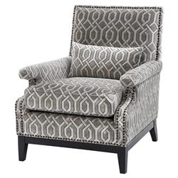 Goldoni Modern Classic Grey Trellis Patterned Cotton Club Chair | Kathy Kuo Home