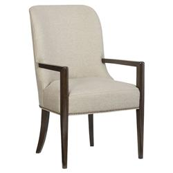 Goode Modern Classic Beige Upholstered Mid Century Curved Back Dining Arm Chair | Kathy Kuo Home