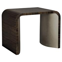Goode Modern Classic Dark Wood Bronze Curved Rectangular Waterfall Side Table | Kathy Kuo Home
