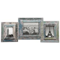 Gracen Global Bazaar Rustic Blue Photo Frames - Set of 3 | Kathy Kuo Home