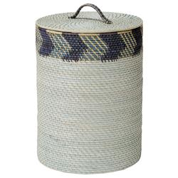 Graeme Coastal Global Blue Grey Chevron Rattan Storage Basket | Kathy Kuo Home
