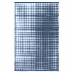 Grant Modern Classic Blue Plaid Hand Woven Outdoor Rug - 4'x6' | Kathy Kuo Home