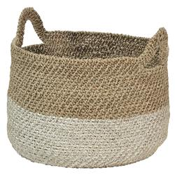 Gratia Coastal Beach Natural White Seagrass Basket | Kathy Kuo Home