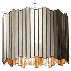 Grayson Reclaimed Mirror Brass Chandelier | Kathy Kuo Home