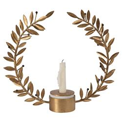 Greek Regency Gold Wreath Candle Holder - S | Kathy Kuo Home