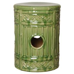 Green Bamboo Global Bazaar Ceramic Garden Stool | Kathy Kuo Home