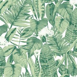 Green Tropical Foliage Removable Wallpaper | Kathy Kuo Home
