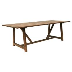 Greg Rustic Lodge Reclaimed Teak Outdoor Rectangular Dining Table | Kathy Kuo Home