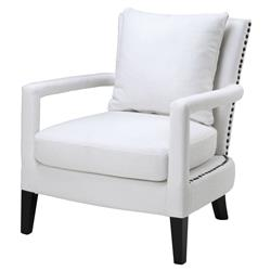 Gregory Modern Classic White Upholstered Nailhead Trim Club Chair | Kathy Kuo Home