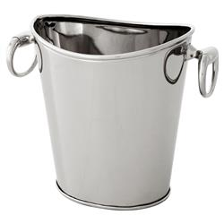 Grenoble Modern Classic Polished Nickel Ice Bucket Wine Cooler | Kathy Kuo Home