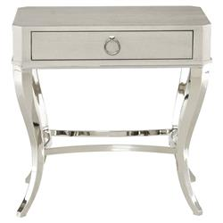 Gretta Grey Hollywood Regency Steel Inlaid Ash Nightstand | Kathy Kuo Home