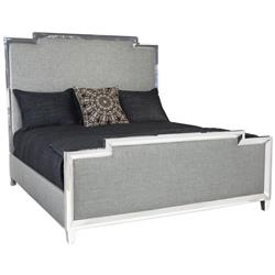 Gretta Grey Regency Polished Nickel Masculine Bed - Queen | Kathy Kuo Home