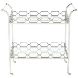 Gretta Radiant Hollywood Regency Polished Nickel Bar Cart | Kathy Kuo Home