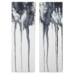 Grey Storm Industrial Loft Abstract Hand Painted Canvas - Pair | Kathy Kuo Home
