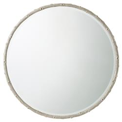 Grove Isle Coastal Beach Coral Cast Aluminum Frame Round Wall Mirror | Kathy Kuo Home