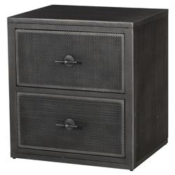 Gulliver Industrial Loft Gunmetal Grey Screen Nightstand | Kathy Kuo Home