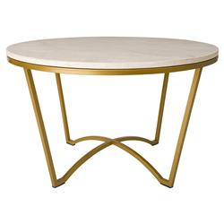Gwen Modern White Granite Gold Outdoor Coffee Table | Kathy Kuo Home