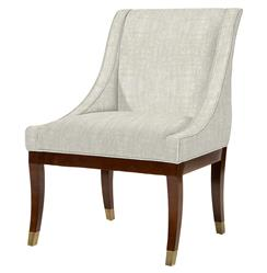 Gwinnett Fifties French Deco Fawn Linen Dining Arm Chair | Kathy Kuo Home